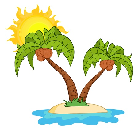romantic getaway: Cartoon Island With Two Palm Tree