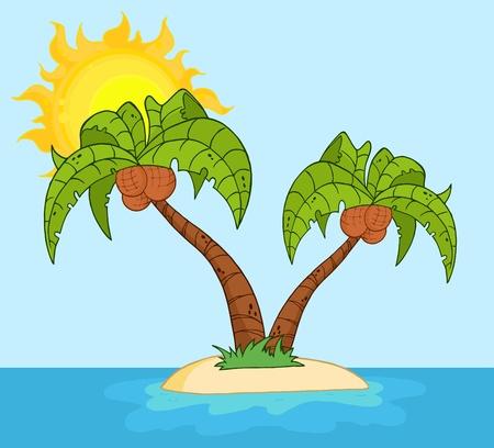 palmtrees: Isla con dos palmera  Vectores