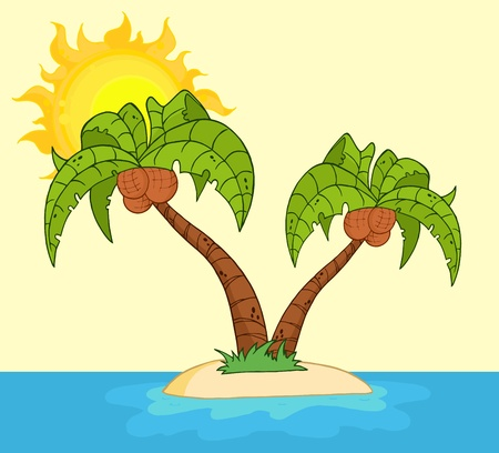 romantic getaway: Cartoon Island With Two Palm Tree Raster Illustration