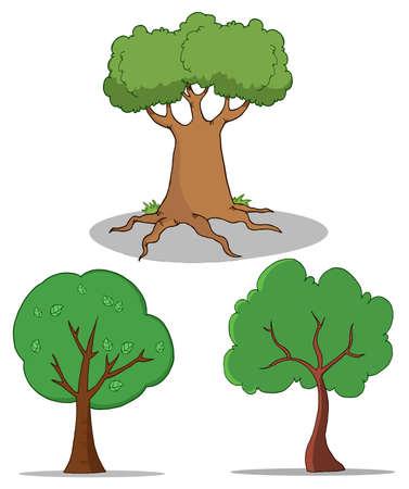 Set Of Cartoon Tree  Vector