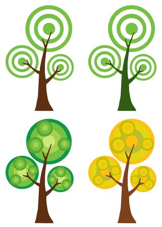 Set Of Abstract Cartoon Tree Raster Illustration
