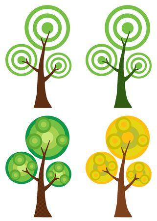 Set Of Abstract Cartoon Tree Raster Illustration