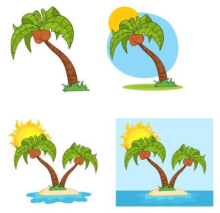 Set Cartoon palmboom Stock Illustratie