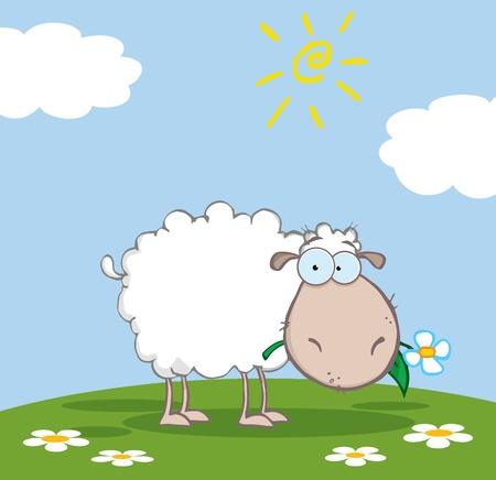 pasen schaap: Witte schapen Cartoon karakter eten een bloem op een weide