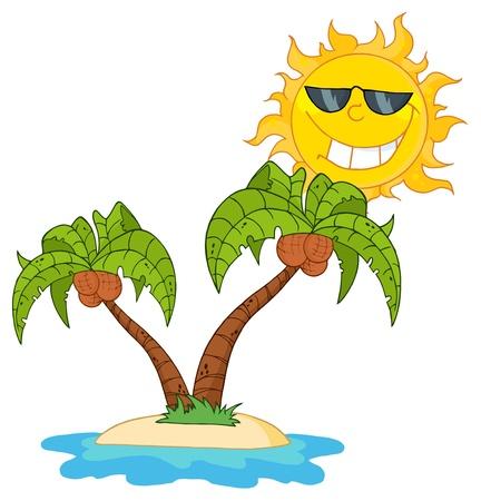 Cartoon eiland met twee palmboom en zon.