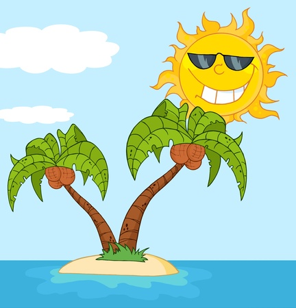 Island With Two Palm Tree And Cartoon Sun Vector