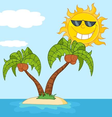 cartoon palm tree: Island With Two Palm Tree And Cartoon Sun
