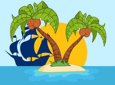 pirate ship: Cartoon Island With Two Palm Tree And Pirate Ship  Illustration