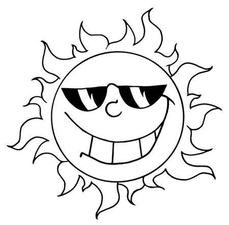 Outlined Happy Sun Mascot Cartoon Character With Sunglasses