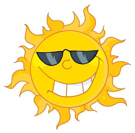 cartoon sun: Happy Sun Mascot Cartoon Character With Sunglasses