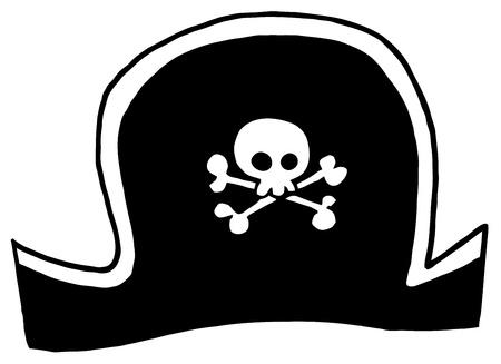 pirate hat: Black Pirate Hat  Illustration