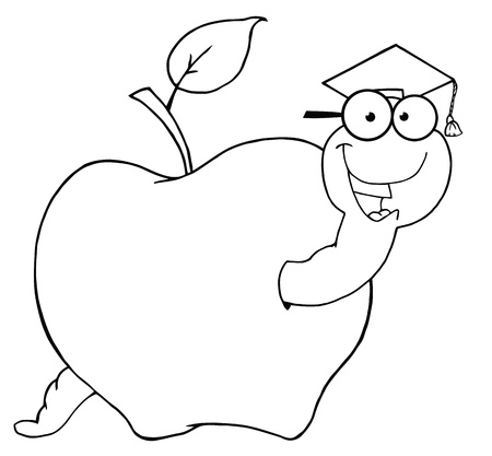 Outlined Happy Graduate Worm In Apple  Vector