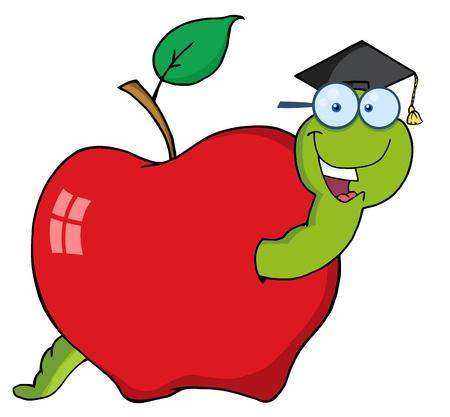Happy Graduate Worm In Apple Vector