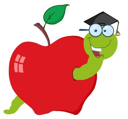 Happy Graduate Cartoon Worm In Apple  Vector