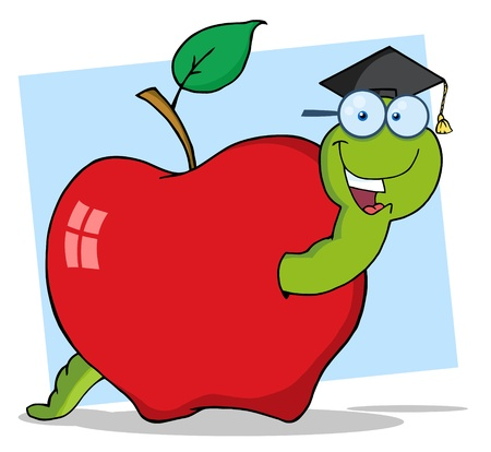 apple worm: Happy Graduate Worm In Apple Raster Illustration