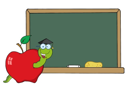 apple worm: Happy Graduate Worm In Apple And School Chalk Board  Illustration