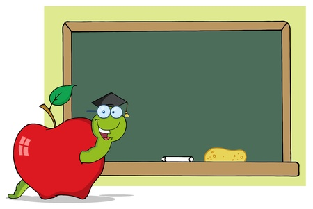 gusano caricatura: Feliz gusano de dibujos animados de graduado en Apple Y escuela de pizarra  Vectores