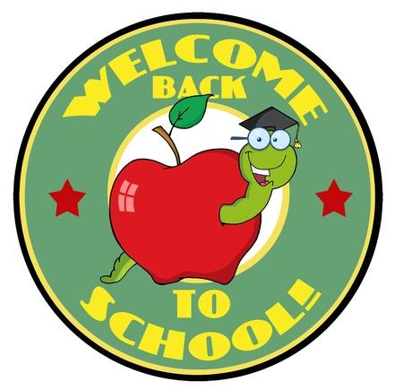 Happy Graduate Worm In Apple Banner