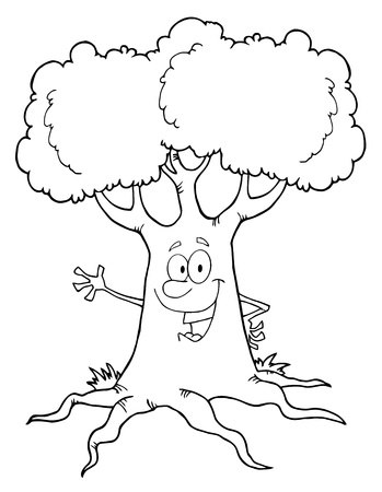 Outlined Happy Cartoon Tree Character Waving A Greeting