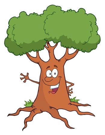 Happy Cartoon Tree Character Waving A Greeting  Vector