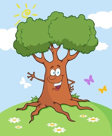 Árbol de dibujos animados feliz agitando un paisaje de saludo  Vectores