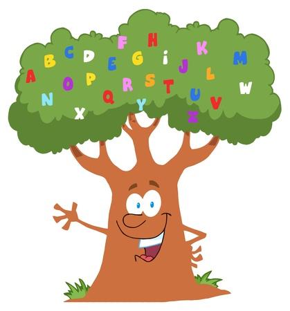 Happy Cartoon Tree Character With English Alphabet