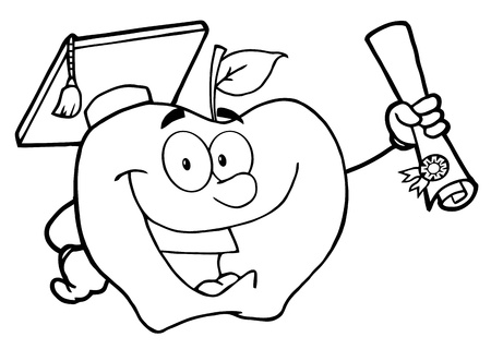 Outlined Happy Apple Character Graduate Holding A Diploma Vector