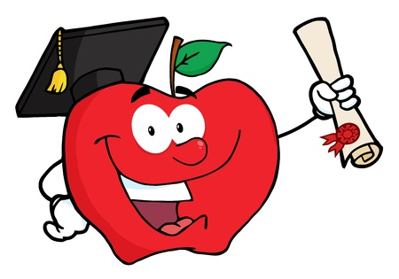 Happy Apple Character Graduate Holding A Diploma