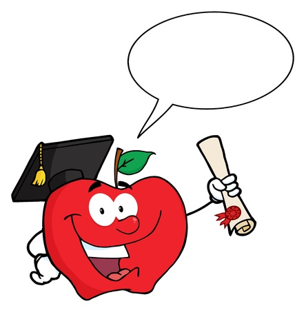 Happy Apple Character Graduate Holding A Diploma With Speech Bubble
