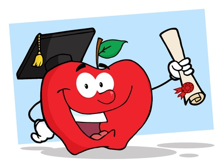 Happy Apple Cartoon Character Graduate Holding A Diploma  Vector