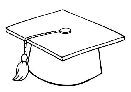 Outlined Graduation Cap Vector