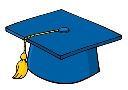 gorro de graduacion: Gorra azul de graduaci�n  Vectores