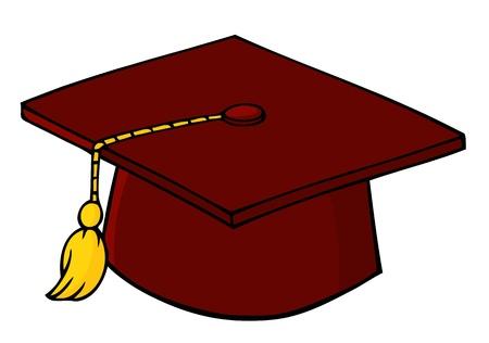 赤の卒業キャップ