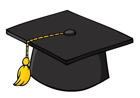黒い卒業の帽子