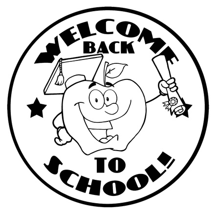 Outlined Apple Character Graduate Holding A Diploma With Text Back to School Banner  Vector