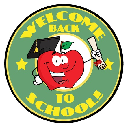 Apple Character Graduate Holding A Diploma With Text Back to School Green Banner Vettoriali