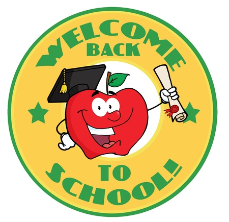 Apple Character Graduate Holding A Diploma With Text Back to School Yellow Banner  Vector