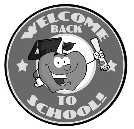 Apple Character Graduate Holding A Diploma With Text Back to School Gray Banner  Illustration