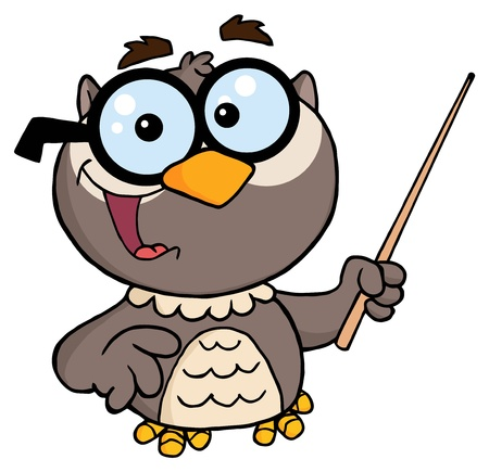 Owl Teacher Cartoon Character With A Pointer  Vector
