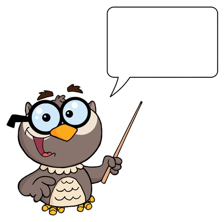 university professor: Owl Teacher Character With A Pointer And Speech Bubble