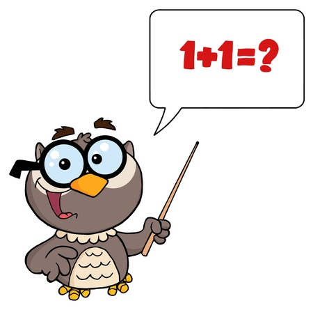 college professor: Owl Teacher Cartoon Character With A Pointer And Speech Bubble