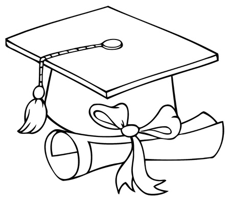 Outlined Graduate Cap With Diploma  Vector