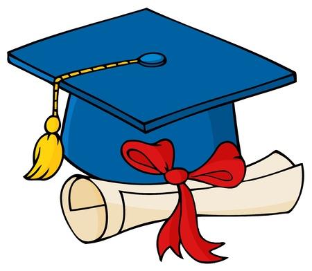 chapeau de graduation: Dipl�m�s casquette bleue avec dipl�me  Illustration