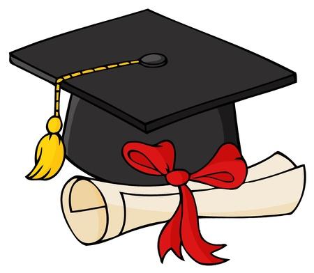 大学院の黒の帽子と卒業証書  イラスト・ベクター素材