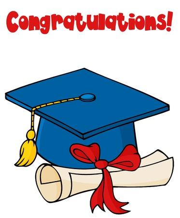 Graduate Cap With Diploma  Vector