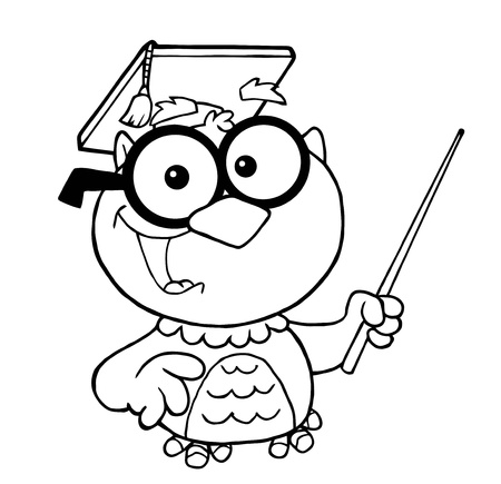 Outlined Owl Teacher Cartoon Character With Graduate Cap And Pointer  Ilustrace