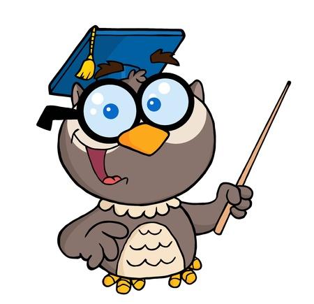 educadores: B�ho profesor personaje con tap�n de graduado, puntero