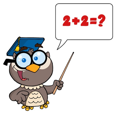 college professor: Owl Teacher Cartoon Character With Graduate Cap ,Pointer And Speech Bubble  Illustration