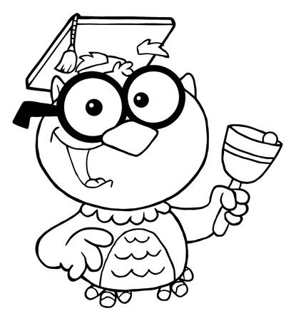 大学院のキャップと鐘がフクロウ先生の概説  イラスト・ベクター素材
