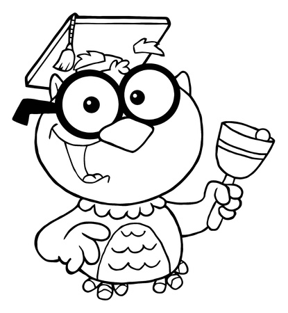 Outlined Owl Teacher With Graduate Cap And Bell  Vector